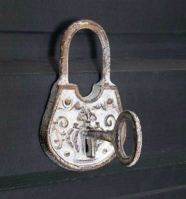 Vintage Look LARGE Metal Coat Hat PADLOCK and KEY WALL HOOKS Antique