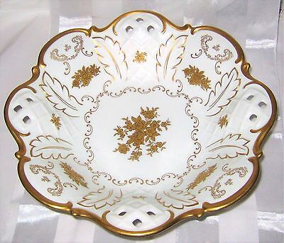 Rosenthal - Fancy Golden Floral, Pierced China - Pedestal Bowl 11""