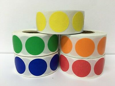 """1"""" Circle PRIMARY COLOR Color Coded Inventory Warehouse Labels 5 Rolls-1000/Roll"""