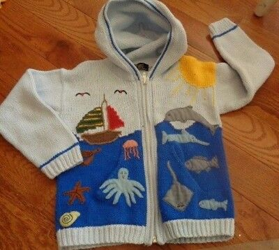 Handmade Sweater 4 from Peru. whale, dolphin octopus ship.. see pics. GORGEOUS