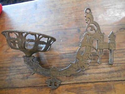 Antique fancy intricate Vintage Cast Iron Oil Lamp Wall Bracket  Holder
