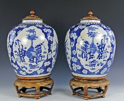 Very Large And Impressive Pair Of Antique Chinese Blue White Porcelain Jars