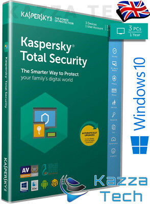Kaspersky Total Security 2019 3 User PC Multi-Device 1 Year UK RETAIL SEALED NEW