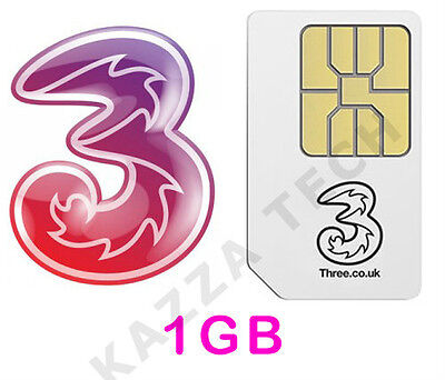Three Payg Sim Card With 1Gb Free Data Pre-Loaded Mifi Dongle