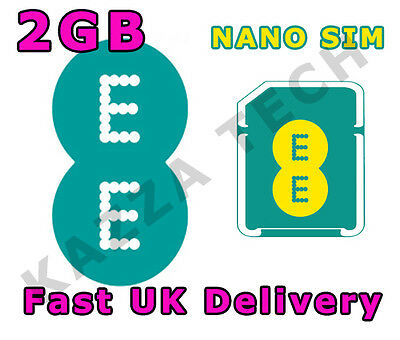 Ee 4G Payg 30 Day Internet Nano Sim Card With 2Gb Free Data Pre-Loaded 3G Lte