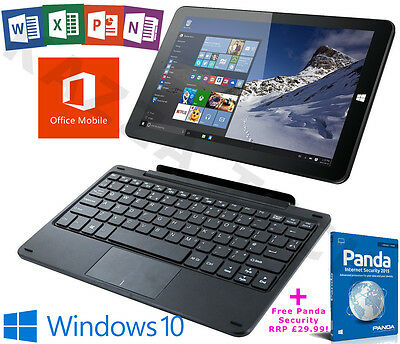 "Linx 1020 Intel Quad Core 32GB 2GB Windows 10 Office 10.1"" Tablet Keyboard Dock"