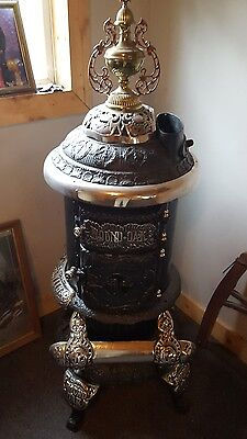 round oak parlor stove cast iron antique wood stove