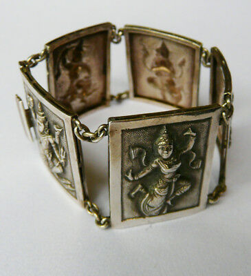 Antique sterling silver bracelet SLNA Thailand- dancing figures- Beautiful