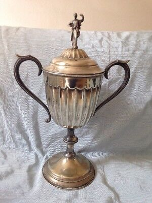 Amazing Large Classic Greek God Of Victory Silver Plate Trophy Cup Not Engraved
