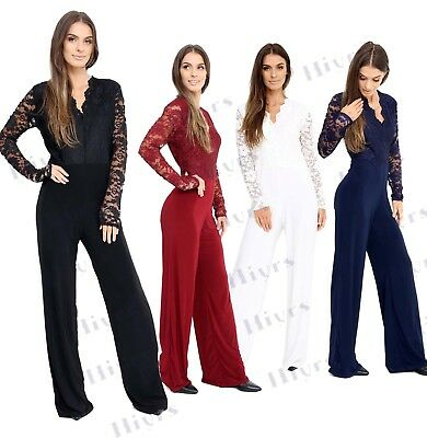 2582fd646b69 Womens Lace Jumpsuit Long Sleeve playsuit Top Slinky lot Plus size 16-24  LADIES