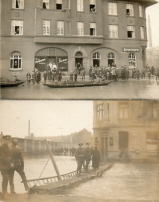 4 OLD PHOTO POSTCARDS of FLOODS in COLOGNE 1919