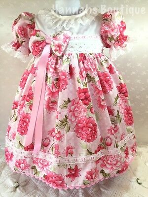 Hannahs Boutique 2-3 Year Pink Floral Spanish Baby Frilly Dress & Headband Set