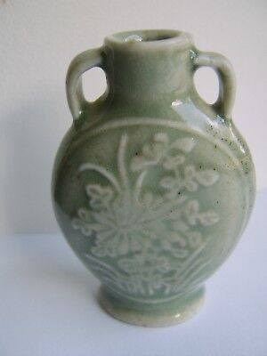 Old Chinese Vase Celadon Interest Unusual Rare Small Size
