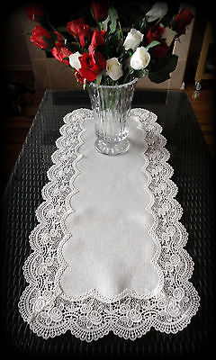 """Dresser Scarf Classic Rose  European Lace Antique White Table Runner 34"""""""