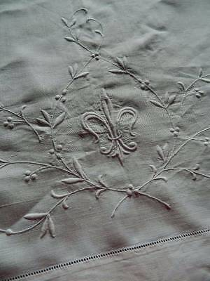 Large antique white Irish linen sheet sham - whitework embroidery & ladderwork