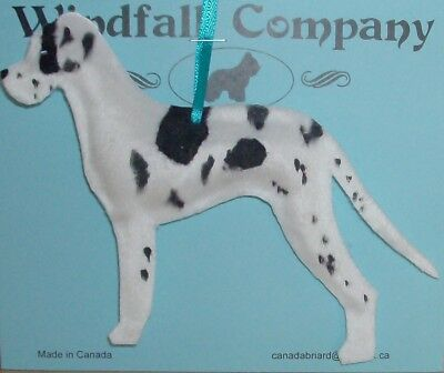 Natural Ear Harlequin Great Dane Dog Soft Plush Christmas Ornament #1 by WC