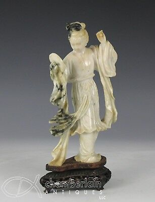 Old Chinese Carved Jade Statue Of Standing Woman With Mirror