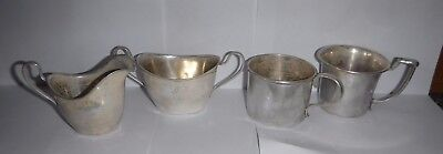 OLD Lot /4 WALLACE STERLING SILVER Cream & Sugar & 2 Tea Cups Set (1 Plated)