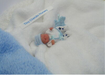 OOAK  Miniature Handmade Baby Boy  1:12th SCALE   TINY DOLLS HOUSE BABY/NURSERY