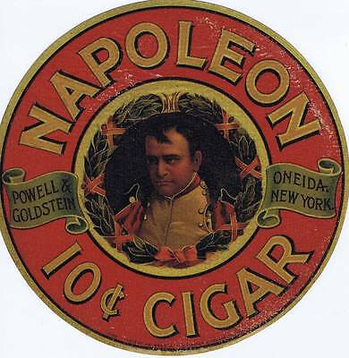 Napoleon Cigar  advertising sign window decal  cc 1920's  Powell & Goldstein