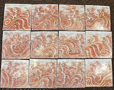 Unusual Set Of 12 Antique Asian Japanese Chinese Porcelain Tiles Plaques W Waves