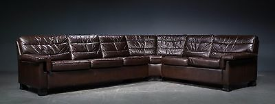 Danish corner sofa  in brown leather