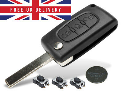 Fits Citroen C4 Picasso 3 Button KEY FOB REMOTE CASE Repair Fix Kit