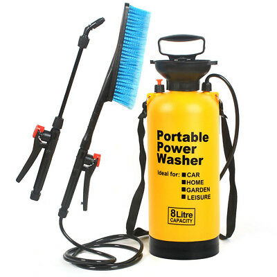 8L Portable Pressure Power Washer Pump Car Jet Wash Brush Hose Lance Cleaner