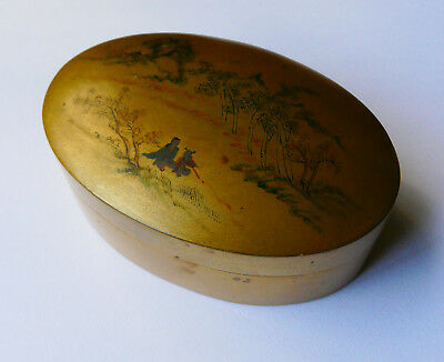 Anthique Chinese gold lacquer box- hand painted, Fukien Exhibit Company- Pretty.