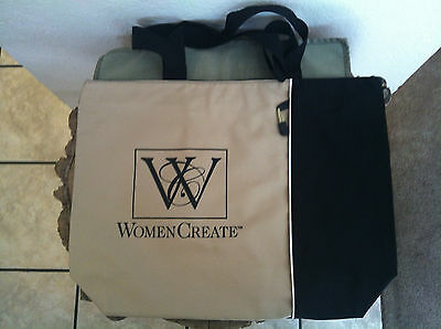 "NWOT ""Women Create"" Black Tan Canvas Nylon Tote Bag Shopper Satchel Carry All"