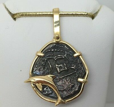14K Yellow Gold Dolphin Bezel With Ancient Roman Bronze Coin