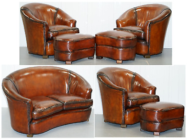 Fully Restored Brown Leather Five Piece Club Tub Suite Armchairs & Sofa Feathers