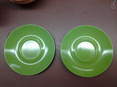 Set of 2 Green Texas-ware Saucers