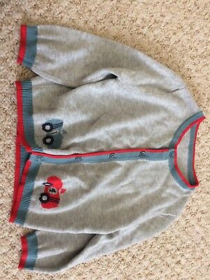Ex Little White Company Boys Car Cardigan Light Knit Grey Blue Red 6-12 Months