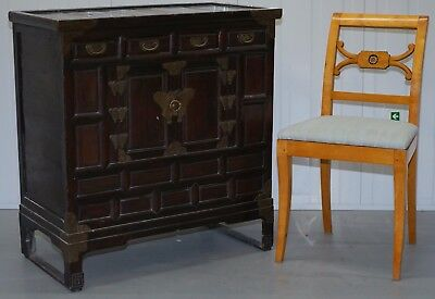 Very Nice Light Teak Vintage Chinese Entertainment Sideboard Drawers Rare Hinges