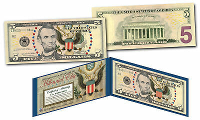 MILLENNIAL ELITE SERIES Genuine $5 U.S. Bill Abraham Lincoln SYMBOLS OF FREEDOM