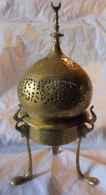 Antique Islamic Script Middle Eastern 3 Legged Mosque Form Brass Incense Burner