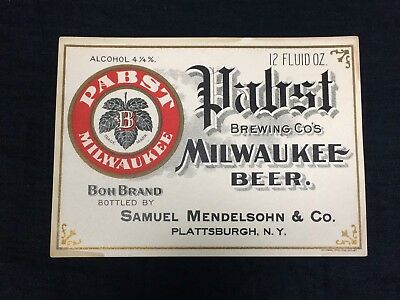 Pre-prohibition Pabst Blue Ribbon Beer Label Litho PBR Plattsburgh NY