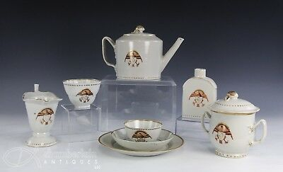 Large Antique Chinese Export Porcelain Tea Service With American Eagle