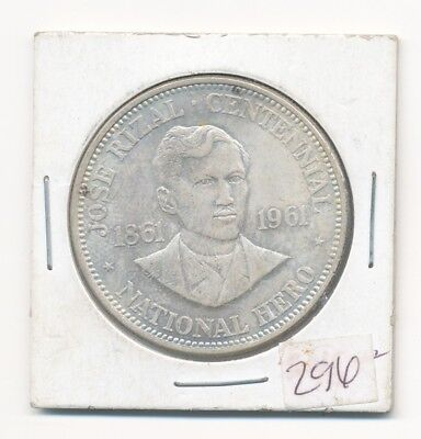 1961 Philippines One Peso Jose Rizal Centennial Silver Coin Opens At .99C
