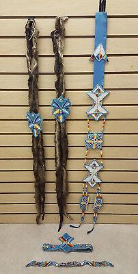 Nice Hand Crafted 5 Piece Cut Beaded Ladies Native American Indian Dance Set