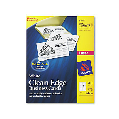 Avery Clean Edge Business Cards Laser 2 x 3 1/2 White 200/Pack 5871