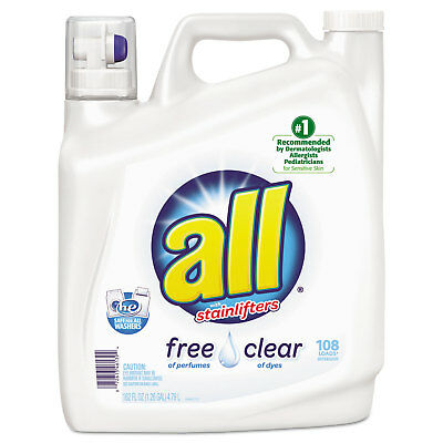 DIVERSEY All Free Clear 2x Liquid Laundry Detergent, Unscented, 162 oz Bottle, 2