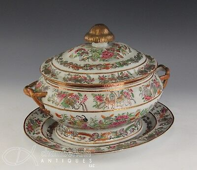 Antique Chinese Famille Rose Porcelain Soup Tureen With Underplate