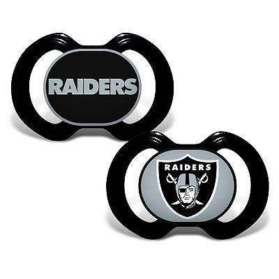 Oakland Raiders Pacifiers 2 Pack Set Infant Baby Fanatic BPA Free NFL
