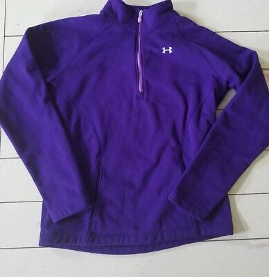 Under Armour Girl's 1/4 Zip Up Pullover Sweatshirt Size Youth Large Purple