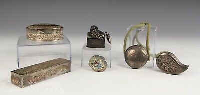 Nice Lot Of Old Antique Chinese And Asian Silver Boxes And Objects