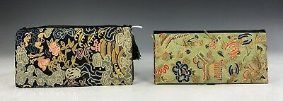 Two Old Chinese Silk Embroidered Purses Objects With Jade