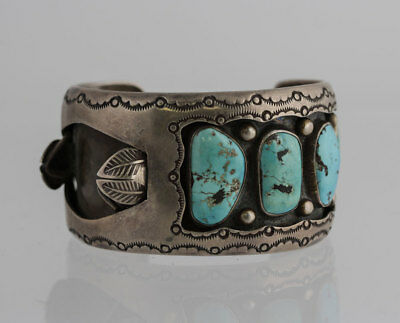 Native American Indian Sterling Silver Turquoise Cuff Watch Tip Bracelet