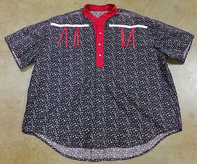 Native American Men's Black White Red Ribbon Shirt 4XL Large Seminole Hand Made
